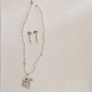 60's  necklace and clip on earrings set  crystal